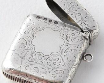 Victorian Solid Silver Vesta Case 1895