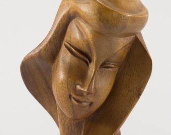 1960s Wooden Sculpture Bust of a Lady-Korean