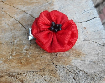 1pc. Red poppy hairpins handmade Hair accessories red and black