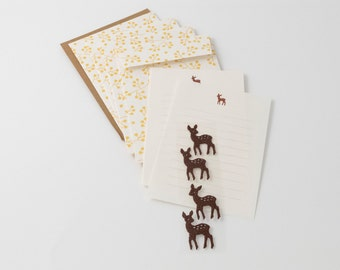 Midori deer stationery set with letter paper, four patterned envelopes, and four envelope seals