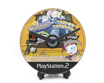 The Fairly Odd Parents Shadow Showdown PlayStation 2 PS2 Upcycled CD Clock Video Game Gift Idea
