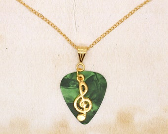 Green Guitar Pick With Treble Clef Pendant On Gold Plated Chain Necklace