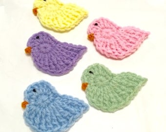 Crocheted Chicks XL, Set of 5, Easter Chick Appliqué, Easter Chicks, Crochet Easter Chick