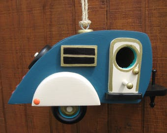 Teardrop Camper Birdhouse Travel Trailer Bird House  Tear Drop
