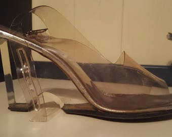 Reduced! Vintage Lucite Wedges - Clear Heels 1950s - 1960s Shoes