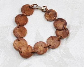 Canadian Penny Bracelet 1867-1967 pennies, vintage copper penny bracelet