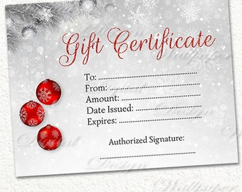 Printable Gift Certificate,Christmas Gift Certificate,Snowflakes, Glitter Gift Card,Red Christmas,Gift Certificate Printable,Winter Gift