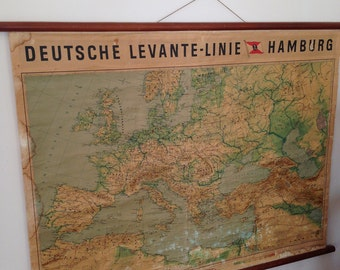Vintage Europe Pull down Map, Rare Map, Maritime Memorabilia, Deutshe Levante Linie Hamburg, Geography School Map, Old Chart