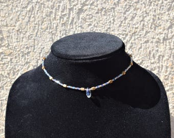 Blue Tear Drop Choker