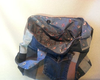 Large Denim Patchwork Purse w/ embrodery