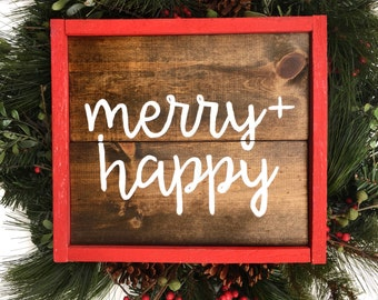 Merry + Happy Handcrafted Wooden Christmas Sign