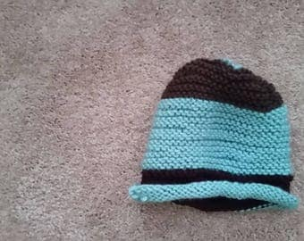 Blue Green and brown knit hat