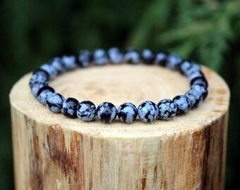 Snowflake Obsidian Bracelet, Snowflake Obsidian, Obsidian Bracelet, Beaded Bracelet, Gemstone Bracelet, Men's/Women's Bracelet, 6mm Bracelet