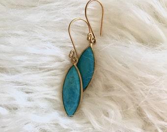Turquoise tear drop earrings, 14K gold