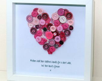 Mother's Day Love Heart Buttonart - Personalised Framed Prints