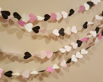 Pink and Black Heart Garland - Custom Paper Garlands