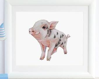 Pig Print Pig Art Pig Painting Pig Gift Pig Nursery Art Cute Happy Pig Baby Animal Print Farm Animal Piggy Piglet Pig Watercolor Wall Art