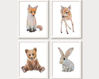 Baby Animal Art Prints Nursery Set Digital Download Woodland Animals Watercolor Paintings Printable Nursery Art Bunny Bear Fox Deer Decor