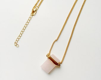 Long necklace with pink crystal pendant, quartz necklace