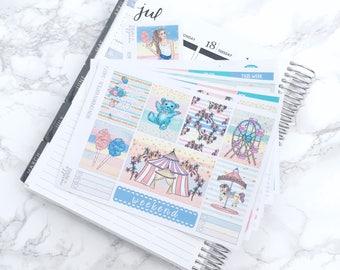 MATTE EC-V Carnival Wonders DELUXE Planner Sticker Kit (6 Sheets) & Free Bonus Box Girl Sticker - For Erin Condren Vertical Life Planner