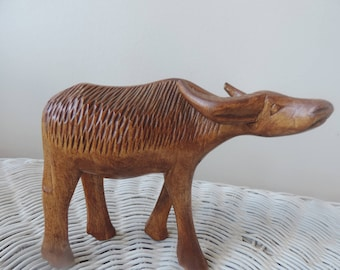 Hand Carved Birch Water Buffalo Vintage