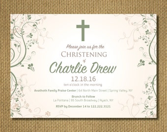 PRINTABLE - Baby Christening Invitation
