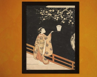 FINE ART REPRODUCTION Japanese Art Woman Admiring Plum Blossoms at Night Harunobu Ukiyo-e Poster   Oriental  Asian Art Edo
