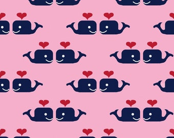Oh Say Can You Sea in Whales in Love PINK by Jack and Lulu for Dear Stella- 1/2 Yard
