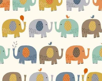 Baby Jungle in Elephants CREAM from Makower UK  - 1/2 Yard