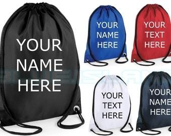 personalised drawstring your text bag soccer your name rucksack backpack gym bag school bag pe bag p.e bag fashion