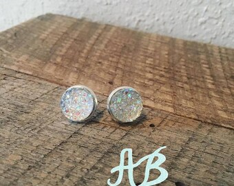 Druzy Earrings- Iridescent or Clear
