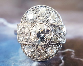 Art Deco Engagement Ring | Diamond Engagement Ring | Vintage Engagement Ring | Antique Engagement Ring | Diamond Ring | Halo Engagement Ring