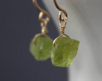 Peridot Rough Earrings, Raw Peridot Earrings, Gemstone Earrings, Short Earrings, Dangling Earrings, August Birthstone