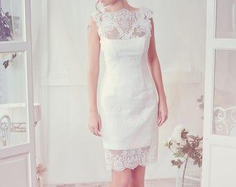 Short Lace Wedding Dress. Ivory Bridal Dress. Romantic Bridal Gown. Short Bridesmaid Dress. Prom Lace Dress. Custom Classic Bridal Dress.