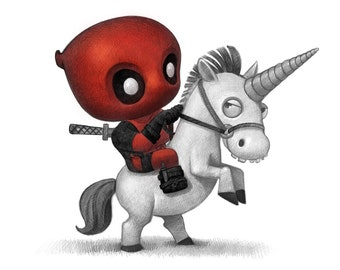 "11X14"" Baby Deadpool on a baby unicorn  Print, signed by the artist, Will Terry"