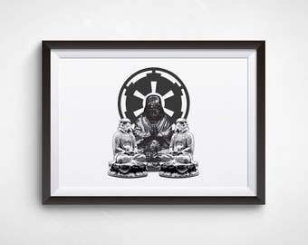 Star Wars art, Buddha poster, Movie print, A5 print, Boyfriend gift, Funny prints, Starwars,