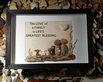 Unique Family pebble art, beach stone art, rock art, Unique personalized family art, family personalized gift