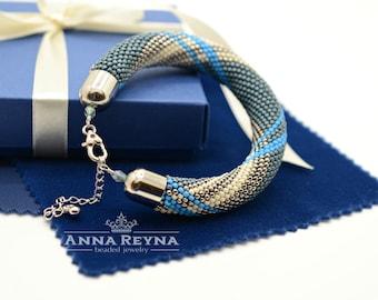 "Bead Crochet Bracelet ""Denim Style"" • Bangle Bracelet • Beadwork • Handmade • Bracelets • Jewelry • Crochet Bracelet • Silver • Blue • Biege"