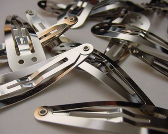 Silver Snap Clips with 3 Holes-50mm 2 inches-20 Pieces