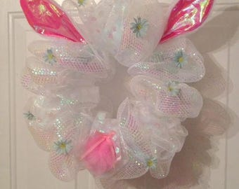 Easter wreath Easter bunny mesh wreath white pink wreath