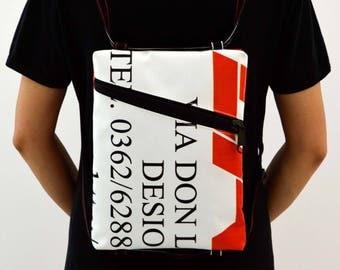 Backpack//advertising//BeesBag//tarpaulin shoulder bag//Pocket//Keychain/bag/ethics//handmade//Italy