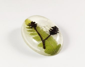 Flower brooch fern & mini pine cones