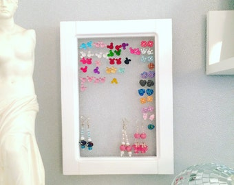 Eco friendly earring display, white frame earring display, wood earring display, earring holder, jewellry , jewelry organizer, earring stand