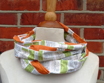 Retro Train Ticket Fabric Infinity Scarf, Infinity Scarf, Ladies Scarves, Loop Scarf, Womens Scarves, Circle Scarf, Tube Scarf, Gift Idea