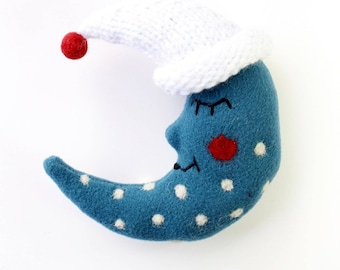 Little Blue Moon stuffed soft toy,sewed,knitted,original,funny,for christmas,birthday,decoration
