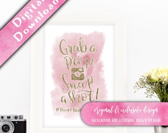 Grab a Prop Snap a Shot Instagram sign, Printable, Wedding Photo Booth Sign, Watercolour Signage, Wedding Hashtag, Photo Booth Sign