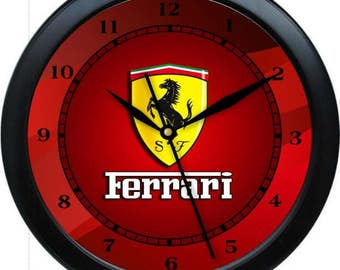 "12.5"" Ferrari Wall Clock Garage Work Shop Gift Father's Day Man Cave Rec Room"