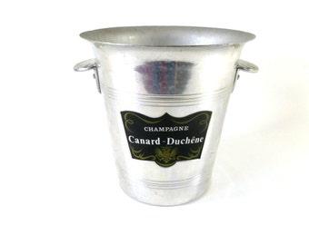 French Vintage Champagne Bucket / Vintage French Barware / Canard Duchene Champagne Bucket