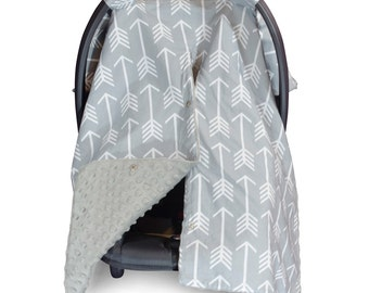 Carseat Canopy | Nursing Cover | Car Seat Canopy w/ Peekaboo Opening™- Arrow w/ Grey Dot Minky for Baby Boy or Girl | Breastfeeding Cover