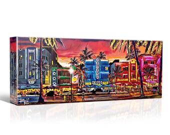 South Beach Canvas Art, Miami Beach, Panoramic painting on Wood, Metal, Acrylic